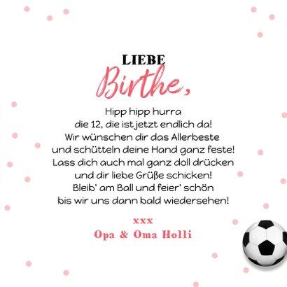 Geburtstagskarte Mädchen Fußball mit Foto 3