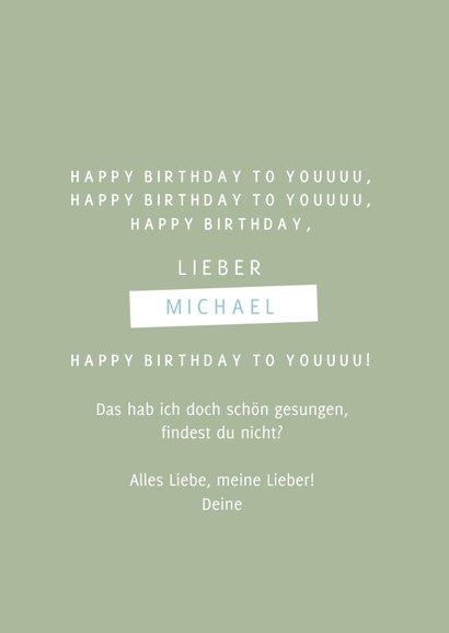 Geburtstagskarte Musiknote mit Partyhut blau 3