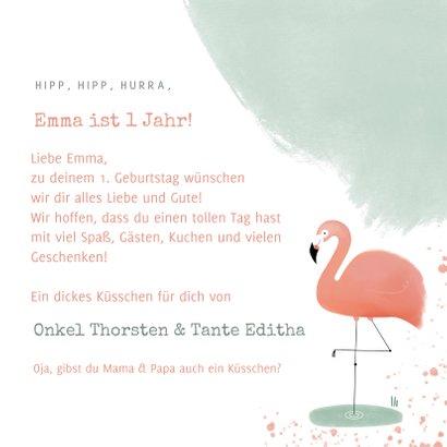 Geburtstagskarte pastell mit Flamingo 3
