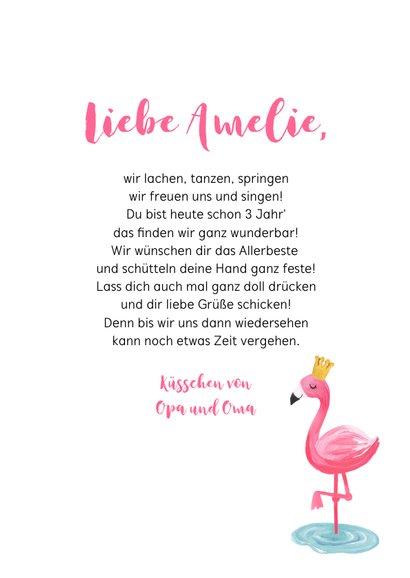 Geburtstagskarte rosa Flamingo mit Krone 3
