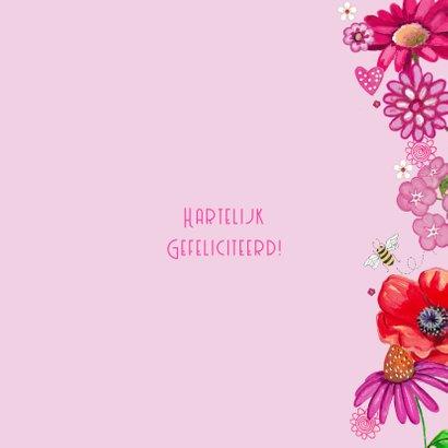 Gefeliciteerd BB Bloemen Roze Vlinders 3