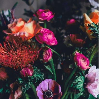 Gefeliciteerd bloemen paars oranje roze 2
