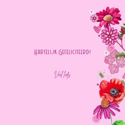 Gefeliciteerd HOUT hart Vrolijk Bloemen 3