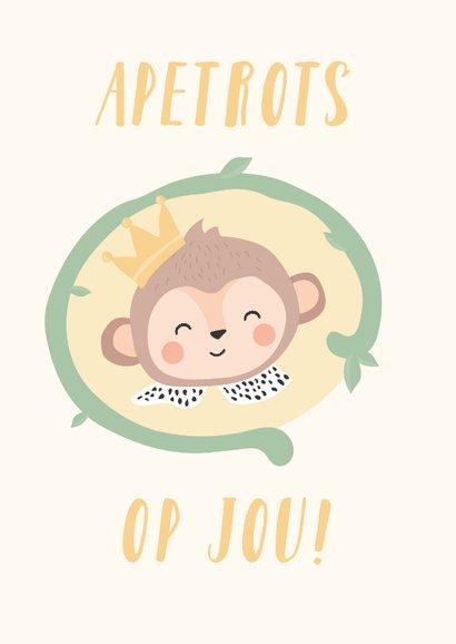 Gele kaart met getekende aap 'apetrots op jou'! 2