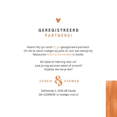 Geregistreerd partnerschap stijlvol koper modern foto's 3