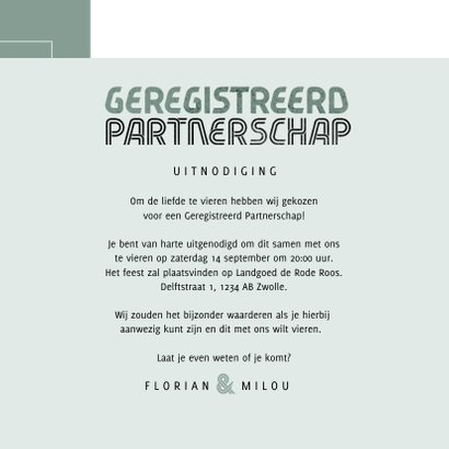 Geregistreerd partnerschap uitnodiging feest modern stijlvol 3