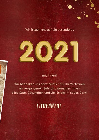 Geschäftliche Neujahrskarte Fotocollage & Goldlook 3