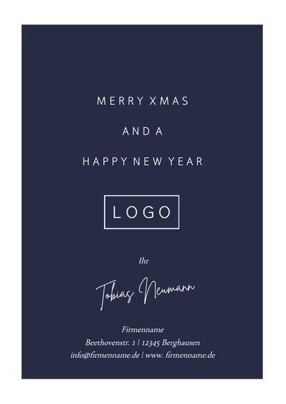 Geschäftliche Weihnachtskarte dunkelblau mit Fotocollage 3