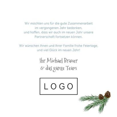 Geschäftliche Weihnachtskarte Holzschild & Schneeflocken 3