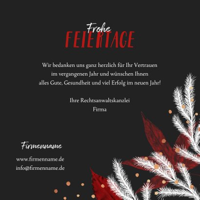 Geschäftliche Weihnachtskarte mit Foto und Tannenzweigen 3