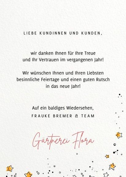 Geschäftliche Weihnachtskarte mit 'Gärtnerei' Icons  3
