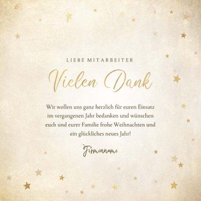 Geschäftliche Weihnachtskarte Vielen Dank mit Sternen 3