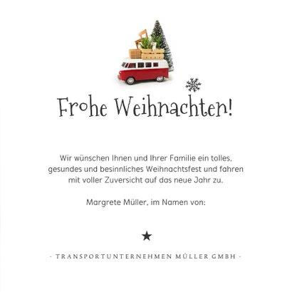 Geschäftliche Weihnachtskarte VW Bus Transportunternehmen 3