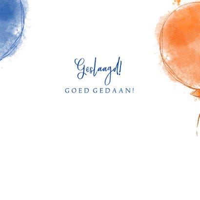 Geslaagd! Felicitatie rood oranje blauwe ballonnen  3
