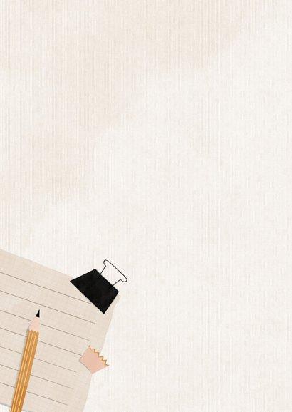 Geslaagd kaart met potlood, puntenslijper en schriftje 2