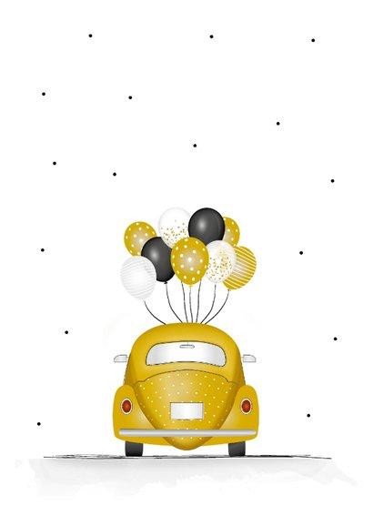 Geslaagd kaart voor rijbewijs met gele kever en ballonnen 2