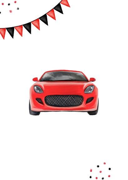Geslaagd rijbewijs feestelijk sportwagen rood 2