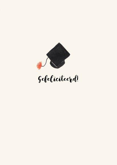 Geslaagdkaart felicitatie met hoeden en doctoraalmutsen 3