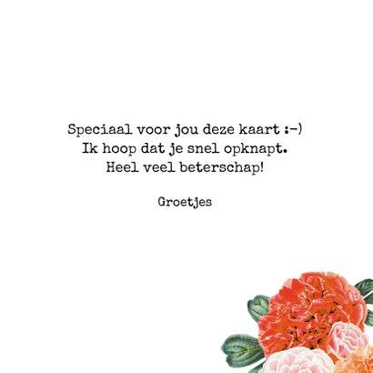 'Get well soon' beterschapskaart met een bloemenrand 3