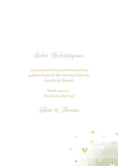 Glückwunschkarte zur goldenen Hochzeit Tauben goldene Herzen 3