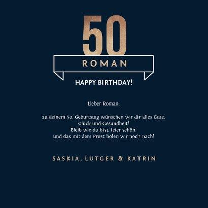 Glückwunschkarte 50. Geburtstag grafisch 3