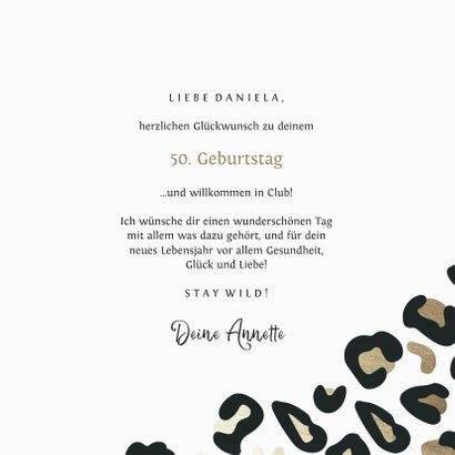 Glückwunschkarte 50. Geburtstag Leopardenprint 3