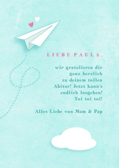 Glückwunschkarte Abitur Papierflieger 3