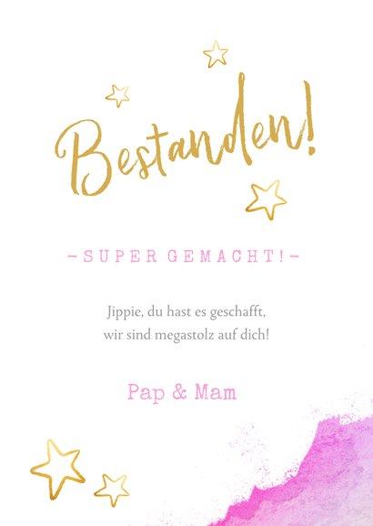 Glückwunschkarte 'Bestanden' rosa mit Foto 3