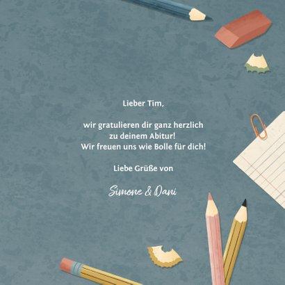 Glückwunschkarte 'Bestanden' Schreibtisch blau 3