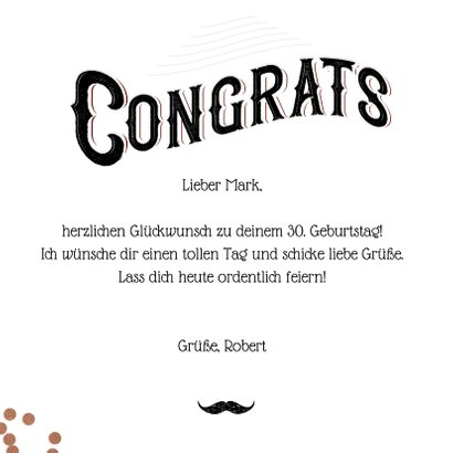 Glückwunschkarte 'Congrats Mate' Mustache & Konfetti 3
