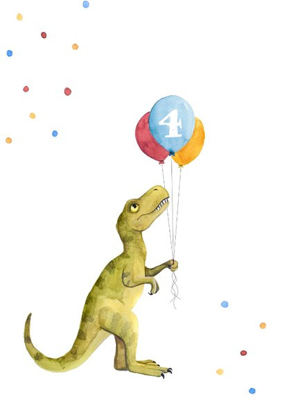 Glückwunschkarte Dino und buntes Konfetti 2