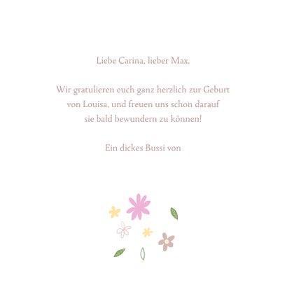 Glückwunschkarte Geburt Elefant mit Blumen 3