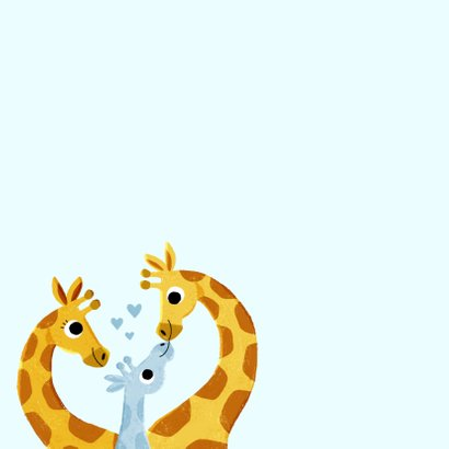 Glückwunschkarte Geburt Junge mit Giraffenfamilie 2
