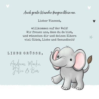 Glückwunschkarte Geburt kleiner Elefant blau 3
