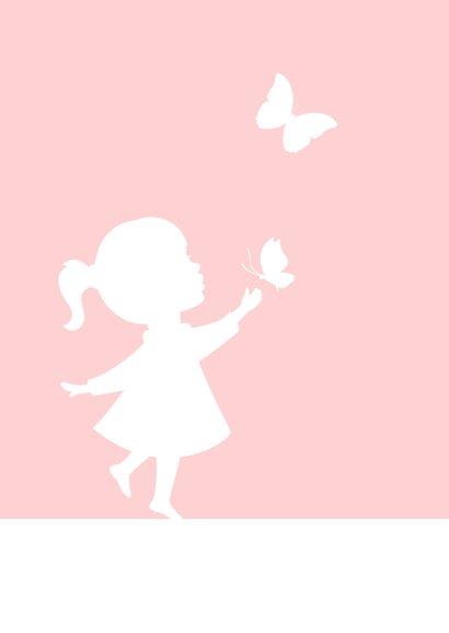 Glückwunschkarte Geburt Mädchen Silhouette mit Schmetterling 2
