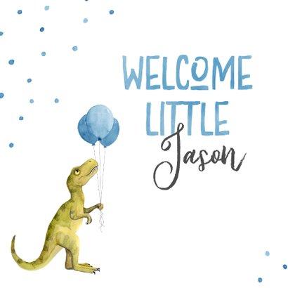 Glückwunschkarte Geburt süßer Dino mit Luftballons 2