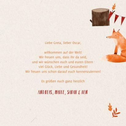 Glückwunschkarte Geburt Zwilling Füchse 3