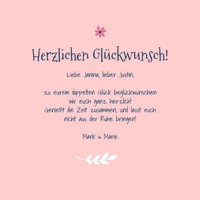 Glückwunschkarte Geburt Zwilling rosa Känguruhs 3