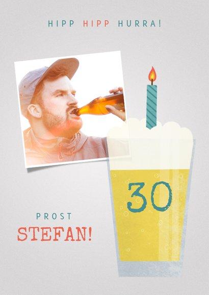 Glückwunschkarte Geburtstag Bier mit Kerze und Foto 2