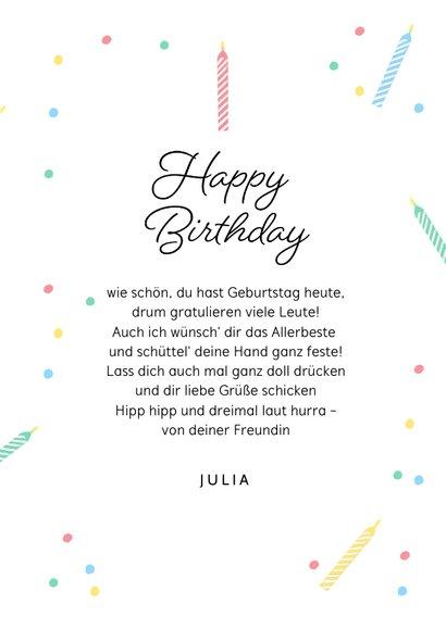 Glückwunschkarte Geburtstag bunte Kerzen 3