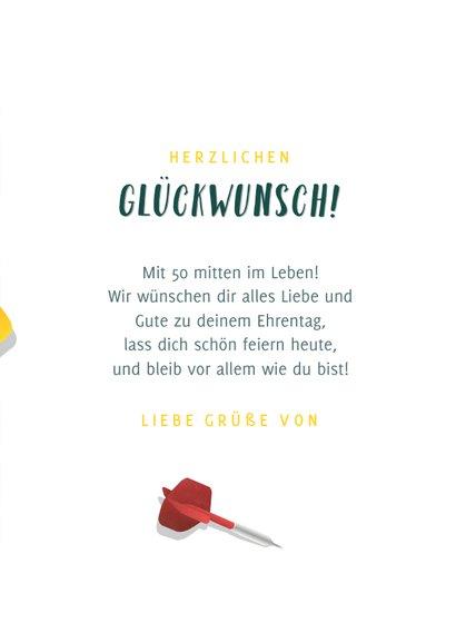 Glückwunschkarte Geburtstag Dartscheibe mit Pfeilen 3
