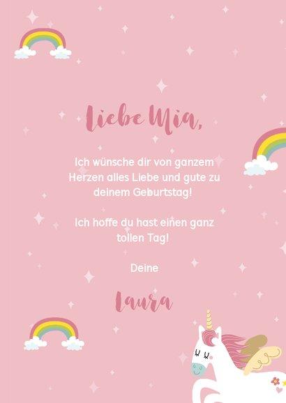 Glückwunschkarte Geburtstag Einhörner und Regenbogen 3