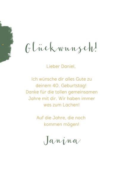 Glückwunschkarte Geburtstag grün Farbklecks & Fotos 3