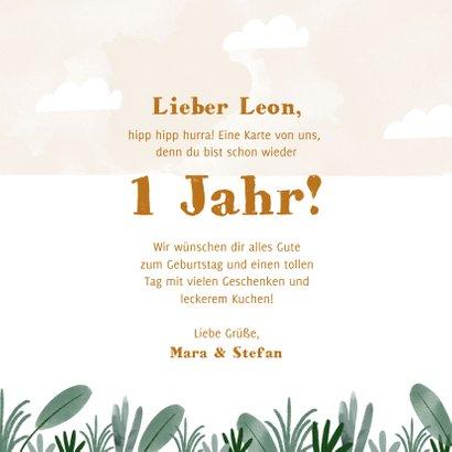 Glückwunschkarte Geburtstag mit Löwe und Pflanzen 3