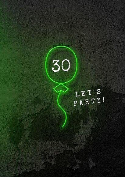 Glückwunschkarte Geburtstag Neon 30 2