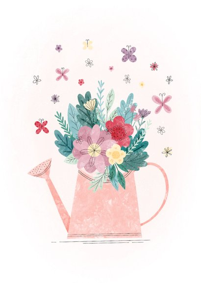 Glückwunschkarte Gießkanne mit Blumen 2