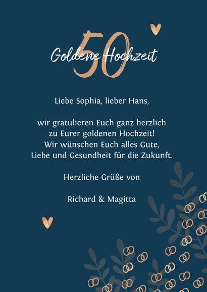 Glückwunschkarte Goldene Hochzeit Eheringe 3