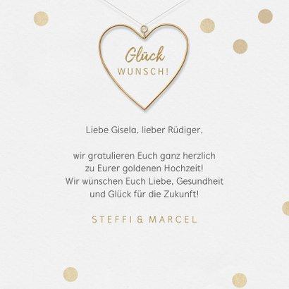 Glückwunschkarte Goldene Hochzeit Goldherz 3