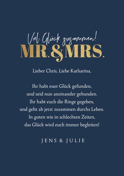 Glückwunschkarte Hochzeit Fotos Mr. & Mrs. 3
