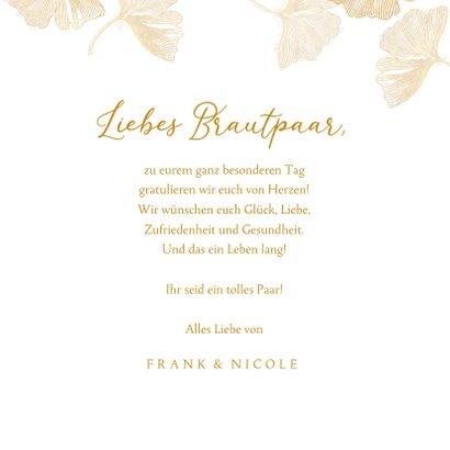 Glückwunschkarte Hochzeit Ginkgoblätter 3